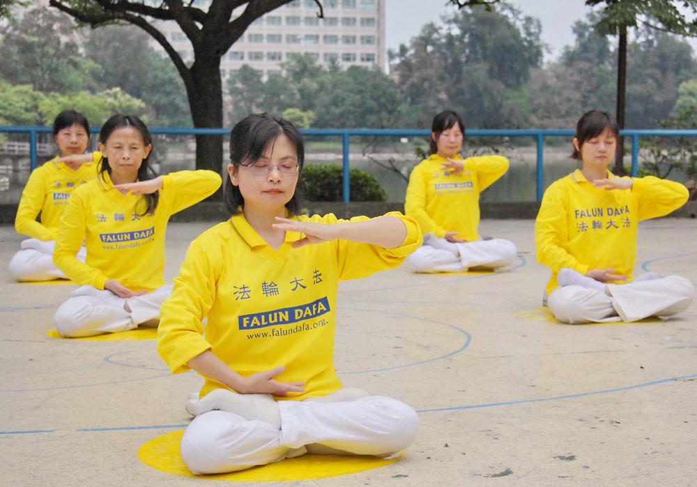 Спустя 11 лет после начала репрессий. Апрель 2010 г. Китайские практикующие Фалуньгун спокойно медитируют в парке Национального университета Цинхуа на Тайване.