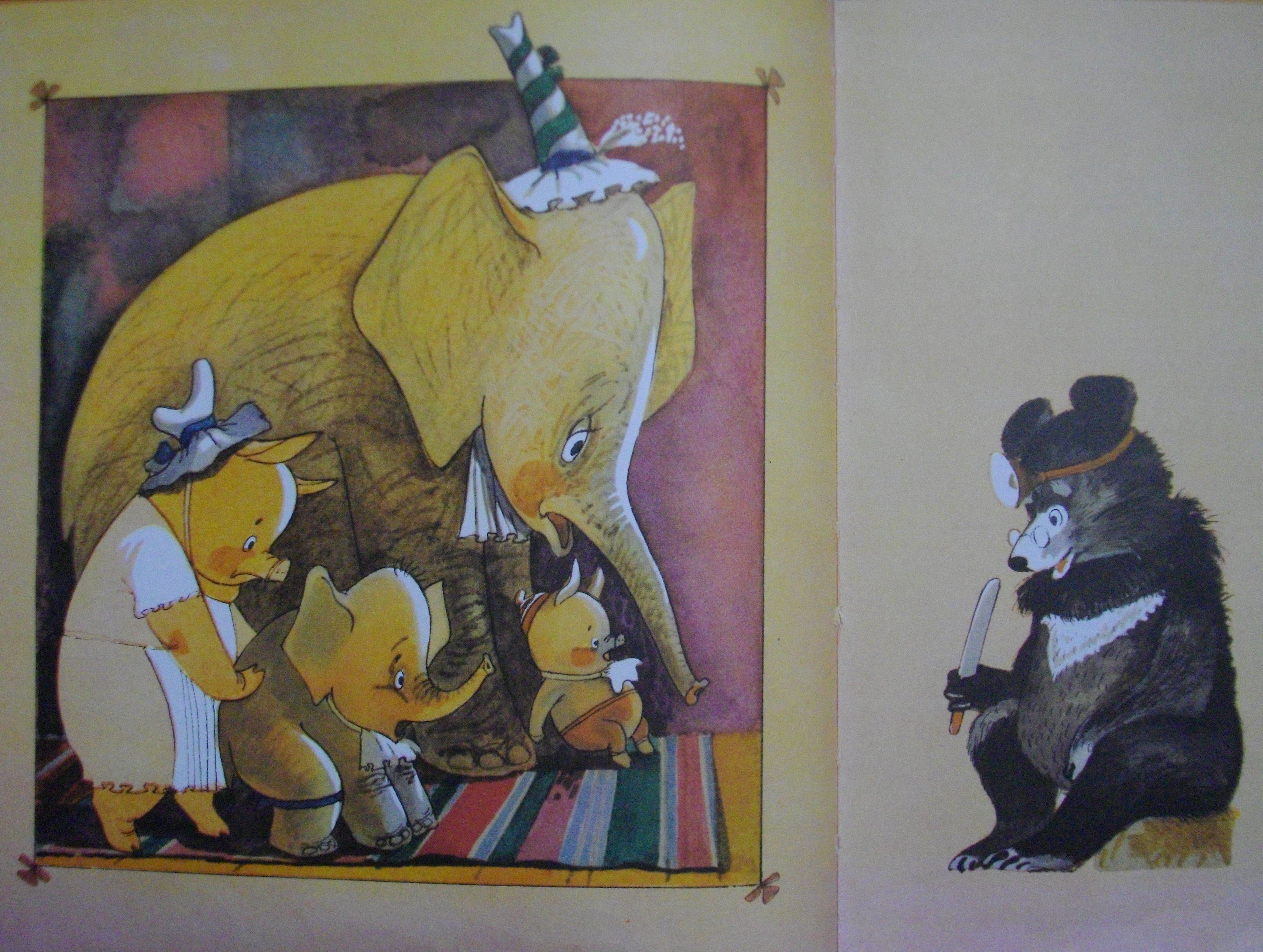 Слониха и Свинья детей и повели детей в больницу к доктору Медведю, который был подслеповат